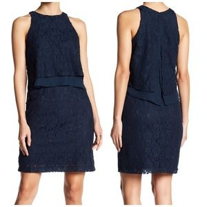 Nwt Betsey Johnson navy lace popover dress